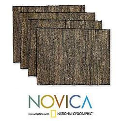 Set of 4 Cotton Natural Fibers Nature By Night Placemats (Indonesia