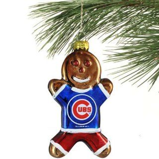 MLB Chicago Cubs Blown Glass Gingerbread Man Ornament