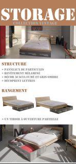 STORAGE Lit 140 x 190 cm   Acacias/gris   Achat / Vente STRUCTURE DE