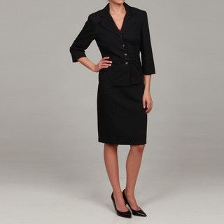 Sweet Womens Dark Navy/ Blue Belted Skirt Suit