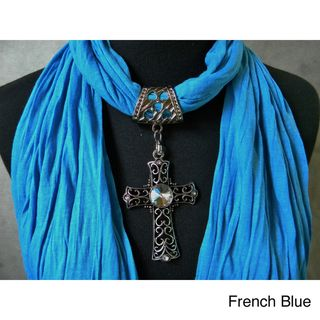 Blue Fashion Jewelry Scarf with Cross Pendant