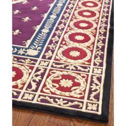 Asian Hand knotted Fleur de lis Royal Purple Wool Rug (6 x 9