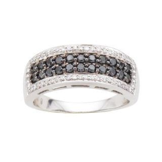 Sterling Silver 3/4ct TDW Black and White Diamond Fashion Ring (I J