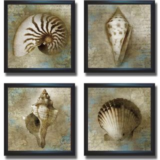 Keith Mallett Nautical Souvenirs Framed 4 piece Canvas Art Set