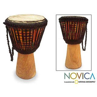 Sese Wood Kente Pillar African Djembe Drum (Ghana)