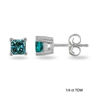 14k White Gold Blue Diamond Solitaire Earrings