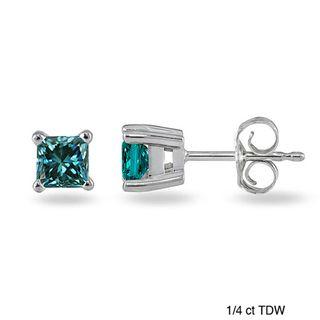 14k White Gold Blue Diamond Solitaire Earrings