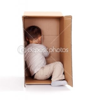 Little boy hiding in cardboard box  Stock Photo © Ilka Erika Szasz