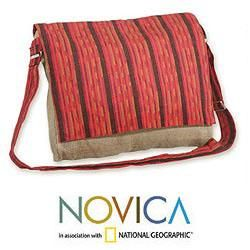 Jute and Cotton Maya Sunset Medium Messenger Bag (Guatemala