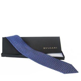 Bvlgari Bar Code Blue Silk Necktie