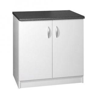 Élément bas 2 portes 80cm Couleur Blanc Plan de…   Achat / Vente