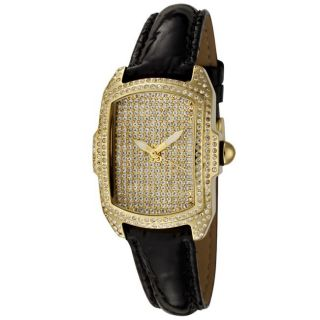 Invicta Womens Lupah Black Patent Leather White Crystal Watch