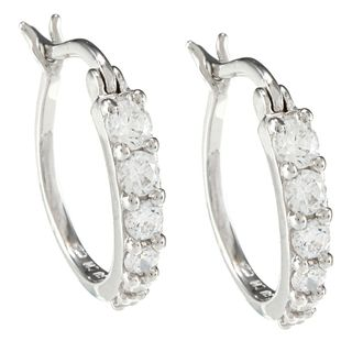 Sunstone Sterling Silver Round Hoop Earrings Made with SWAROVSKI