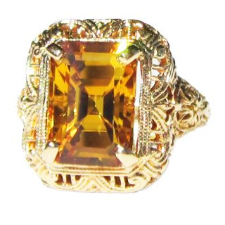 14k Yellow Gold Yellow Sapphire Art Deco Filigree Ring