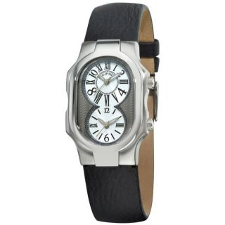 Philip Stein Womens Signature Black Strap Dual Time Watch