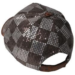 Journee Collection Womens Checkered Sequin Baseball Cap