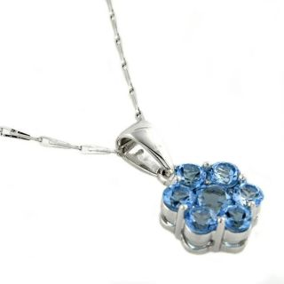 Beverly Hills Charm 14k White Gold Blue Topaz Flower Necklace
