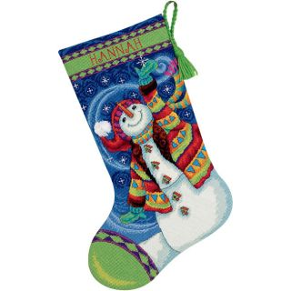 Happy Snowman 100 percent Cotton Thread Stocking Needlepoint Kit