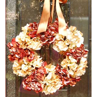 Cream and Rust Hydrangea Flower Front Door Wreath