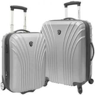 2 Piece Hardsided Expandable Luggage Set Color Silver