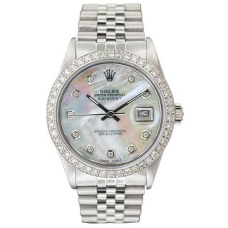 Pre owned Rolex Mens Datejust White Gold Diamond Dial Watch