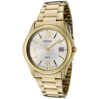 Seiko Mens Silver Dial Goldtone Stainless Steel Watch