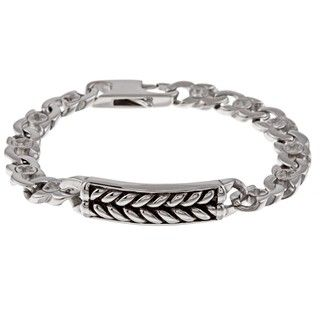 Stainless Steel Mens Braided Design ID Bracelet