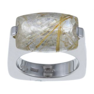 Pianegonda Sterling Silver Rutilated Quartz Square Ring
