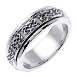 14k White Gold Mens Celtic Design Wedding Band
