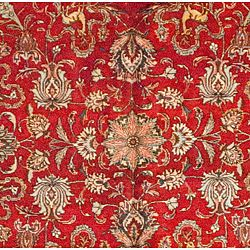 Persian Hand knotted Red Tabriz Wool Rug (113 x 148)