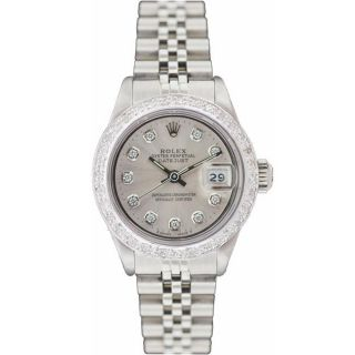 Pre owned Rolex Womens Datejust White Gold Silver Diamond Dial Watch