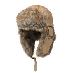 Boston Traveler Mens Suede Faux Fur Trapper Hat
