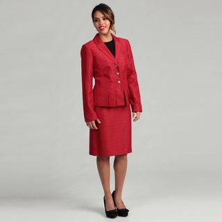 Isabella Womens 3 button Pleated Peplum Skirt Suit