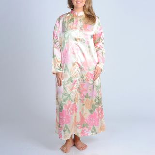 La Cera Womens Plus Size Pink Floral Print Zip front Robe