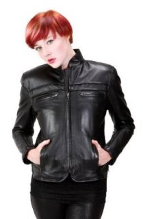United Face Womens Fitted Leather Motorcycle Jacket