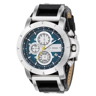 Fossil Mens Leather Strap Blue Dial Chronograph Watch