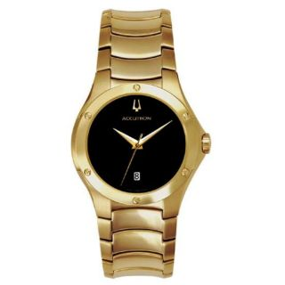 Bulova Accutron Belize Swiss Mens Goldtone Stainless Steel Black Dial