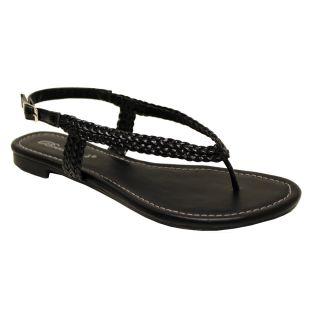 Oceanstar Womens Black Braided Thong Sandals