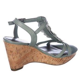 Bandolino Womens Ninette Light Green Wedge Sandals