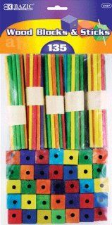 Colored Wood Blocks & Stick, Assorted, 135 Per Pack