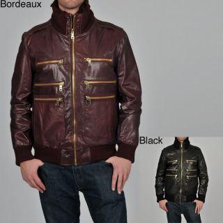 Knoles & Carter Mens Big & Tall Triple Collar Leather Bomber Jacket