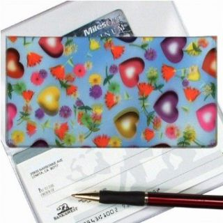 Lenticular Check Book Cover, LOVE HART, FLOWER, RED