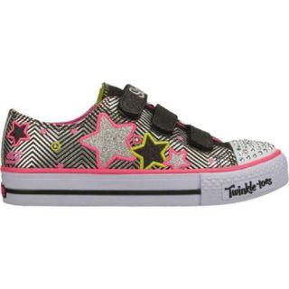 Girls Skechers Twinkle Toes Shuffles Triple Up Black/Pink