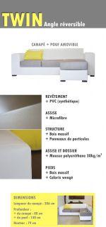 TWIN Canapé Tissu pvc angle réversible blanc/gris   Achat / Vente