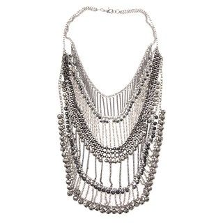 Morgan Ashleigh Gunmetal and Silvertone Glass Bead Bib Necklace