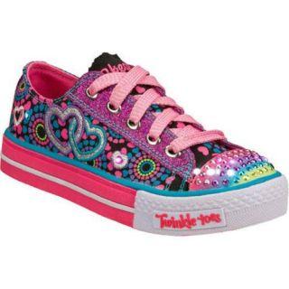 Girls Skechers Twinkle Toes Shuffles Walk Of Love Black/Pink