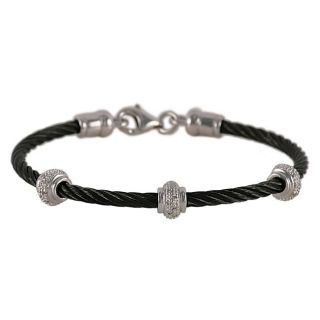 Maddy Emerson Couture Black Rhodium over Steel Diamond Cable Bracelet