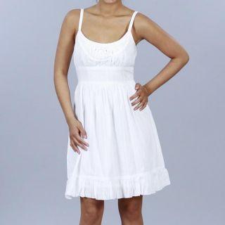 JFW Womens Juniors White Cotton Eyelet hem Scoop Neck Dress