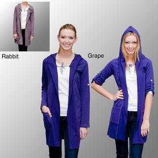 AtoZ Womens Cotton Extra long Hooded Cardigan