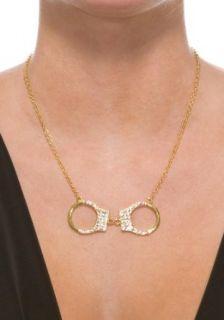 Rhinestone Handcuff Necklace (Gold;One Size) Clothing